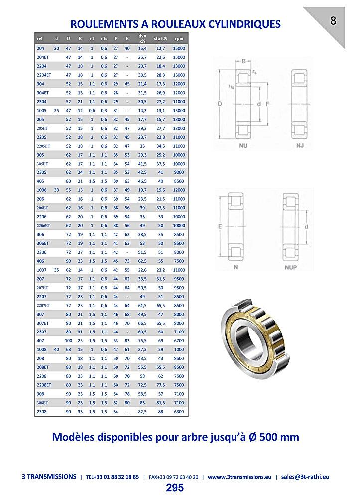 Roulements à rouleaux cylindiques, Roulements à galets aiguilles | 3 Transmissions