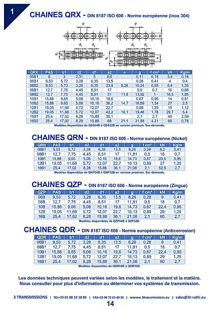Chaines Transmission acier inoxydable, chaine à rouelau inox | 3 Transmissions