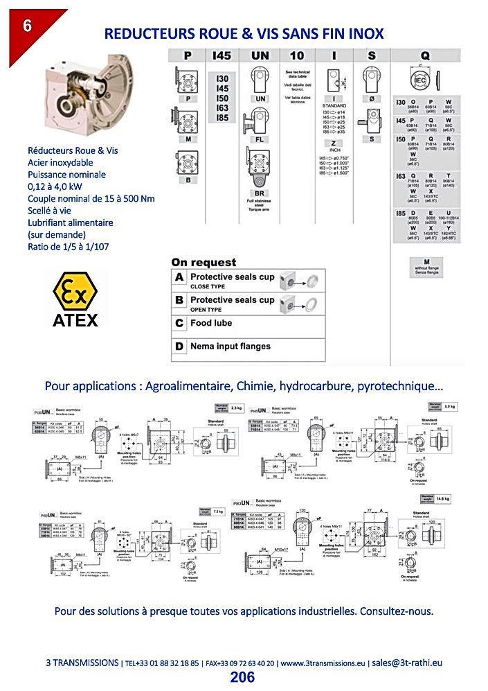 Réducteurs roue et vis acier inoxydable | 3 Transmissions