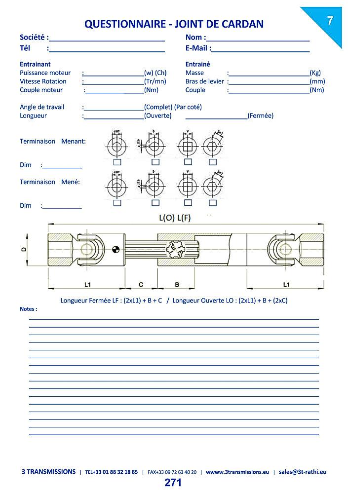 Questionnaire détermination des Joints de cardan | 3 Transmissions