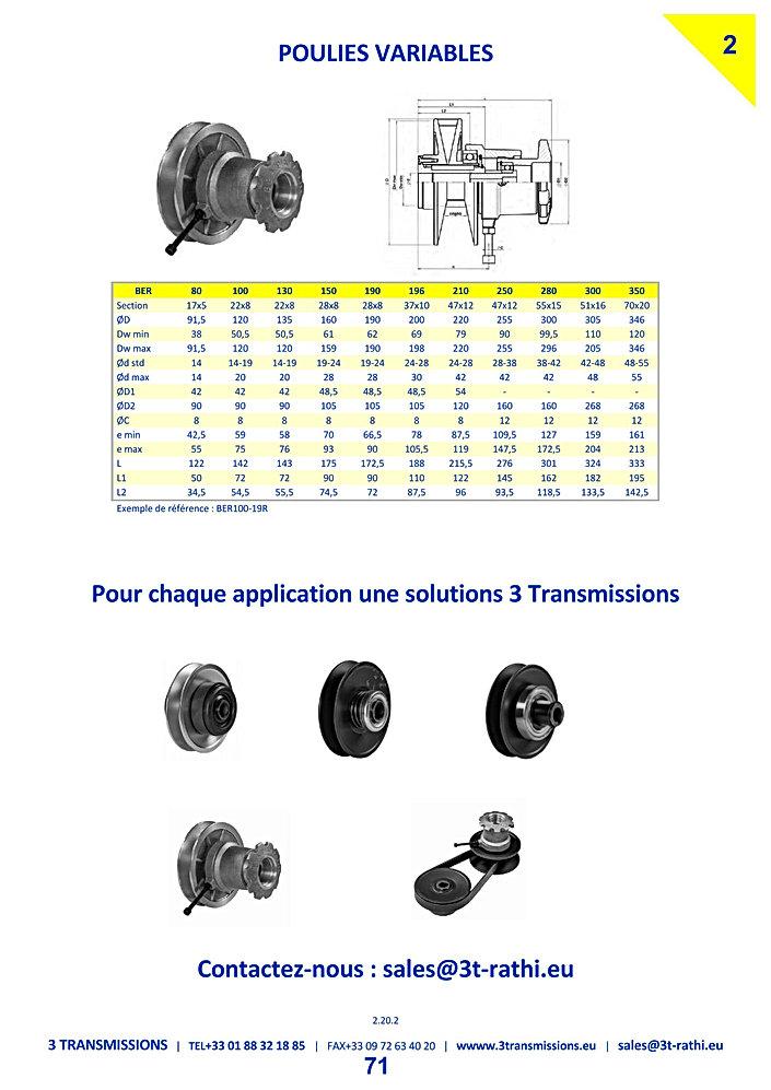 Poulies variables volant reglable | 3 Transmissions