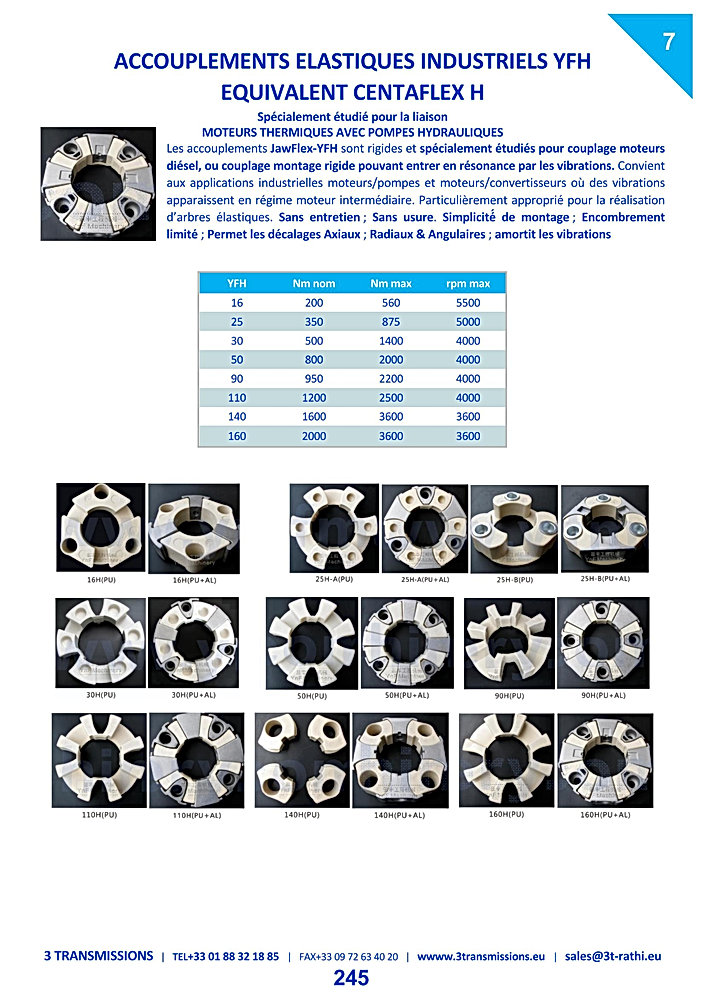 Accouplements élastiques hytrel YFH | 3 Transmissions