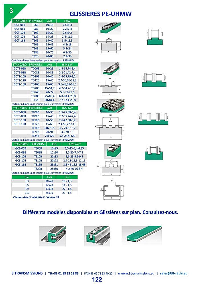 Glissieres plastiques chaines de transmission | 3 Transmissions