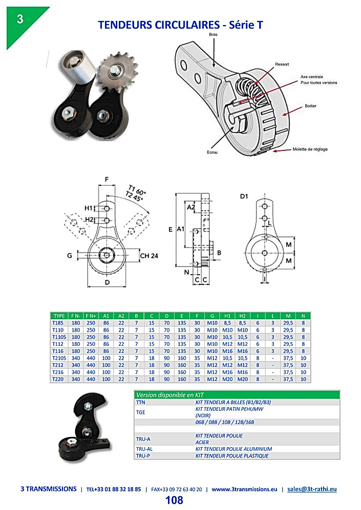 Tendeurs Automatiques chaines série T | 3 Transmissions