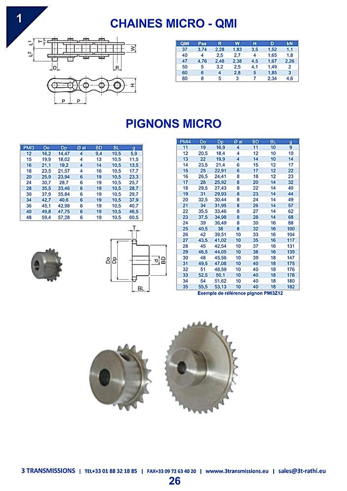 Chaines de transmission miniature | 3 Transmissions