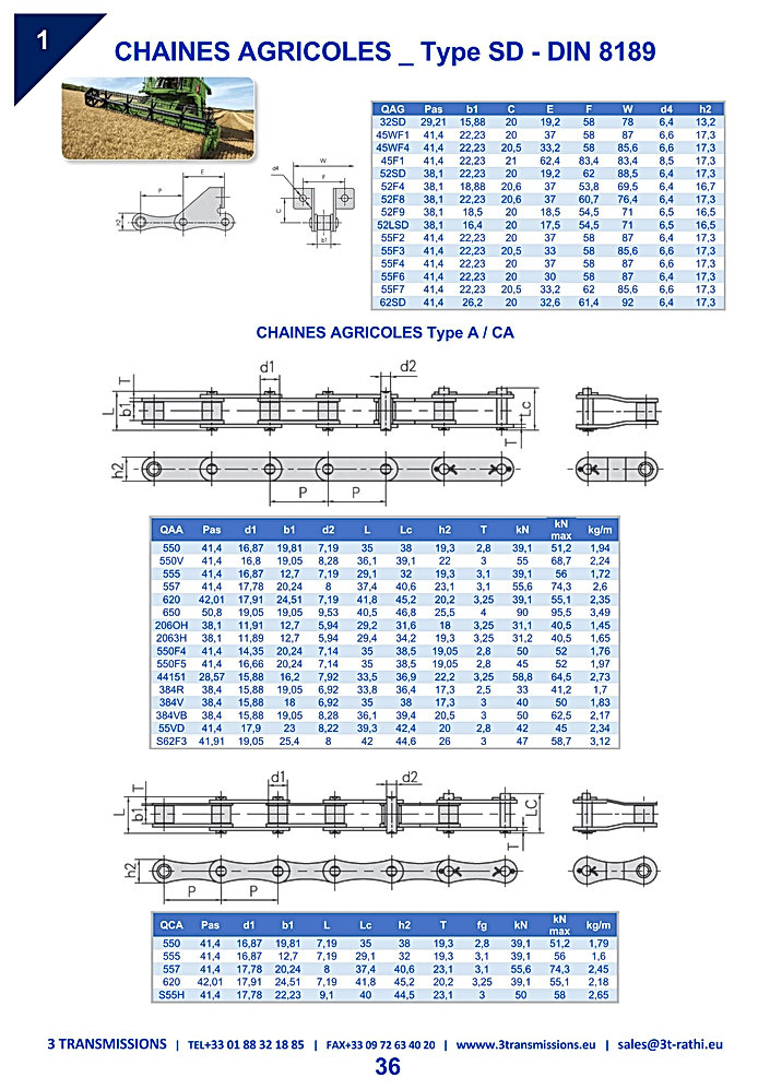 Chaines agricoles plaques droites | 3 Transmissions
