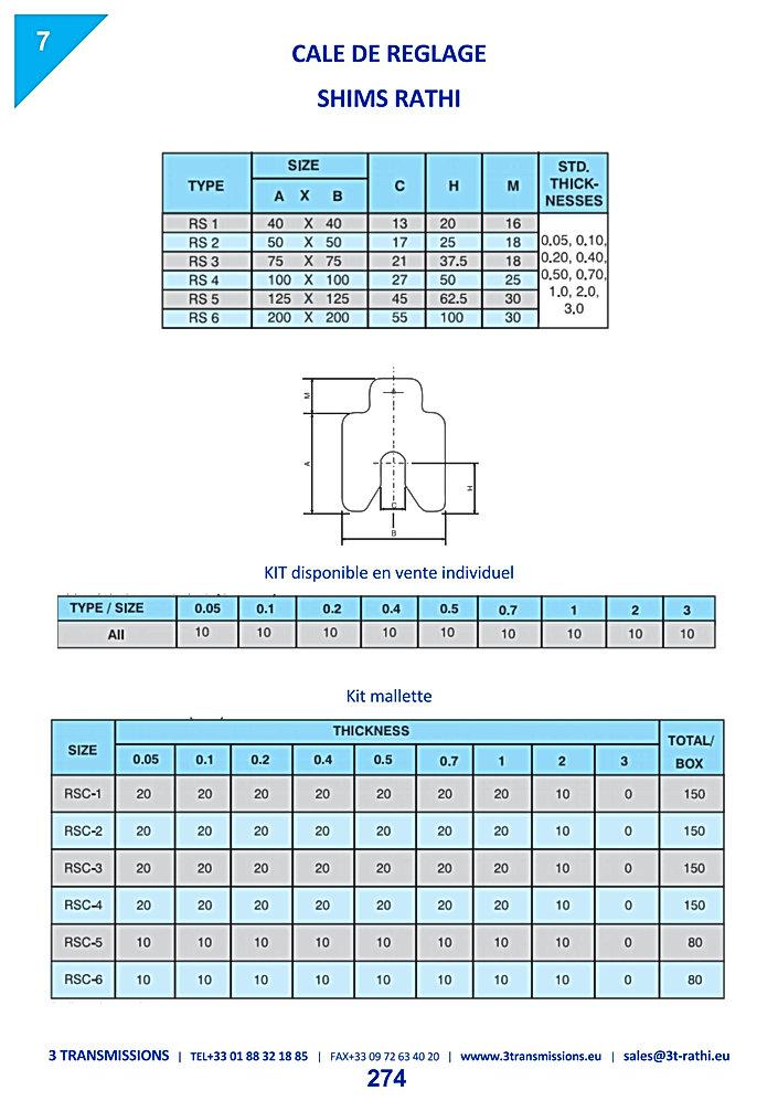 Cales de précision réglage liignage accouplement moteur | 3 Transmissions