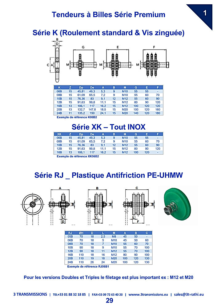 Tendeurs a Billes INOX chaines Industrielles | 3 Transmissions