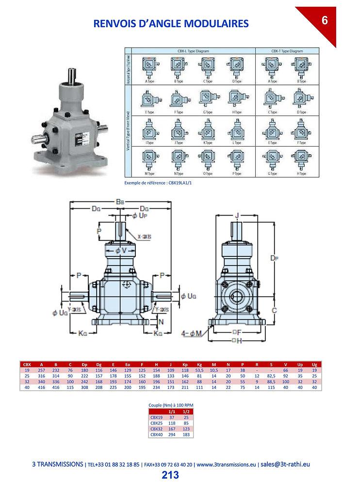 Renvoi d'angle à engrenage conique modulable   3 Transmissions