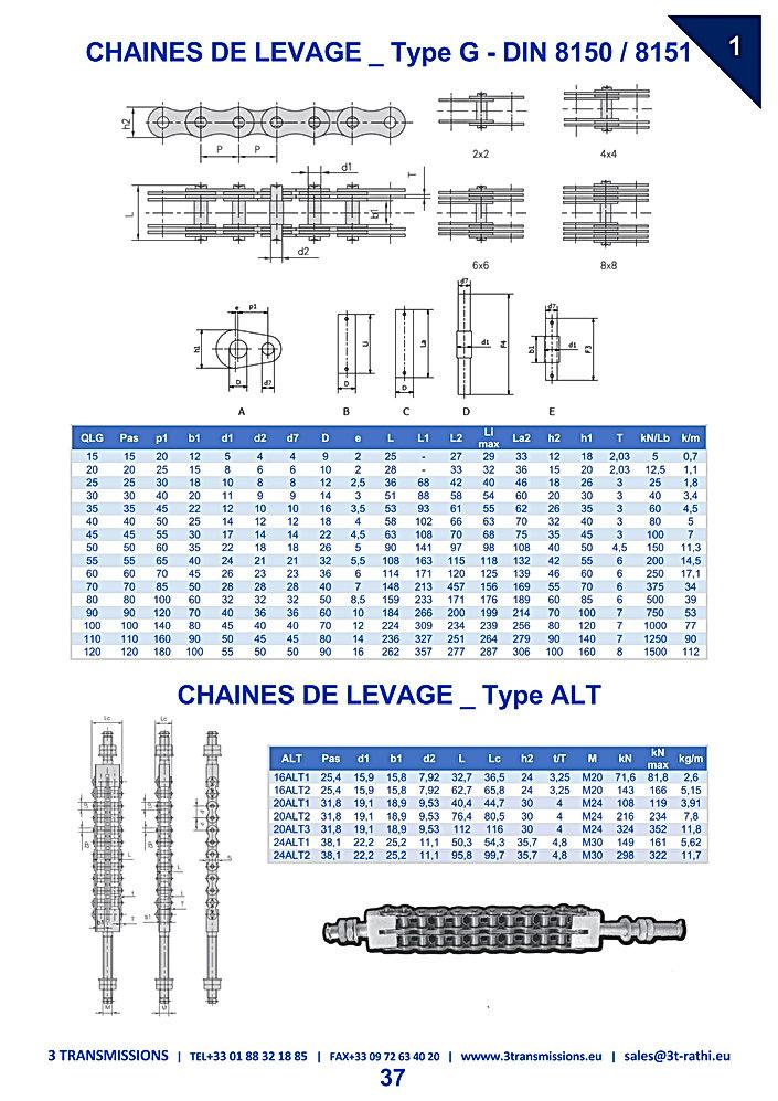 Chaines de levage, chaine de manutention | 3 Transmissions