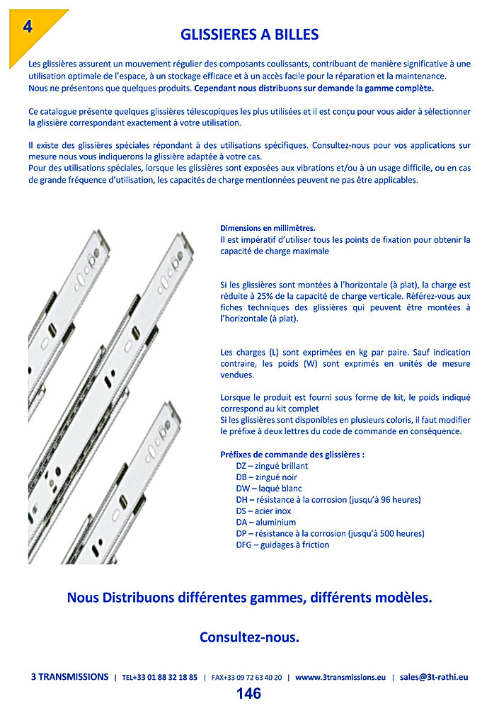 Glissieres billes ACCURIDE   3 Transmissions