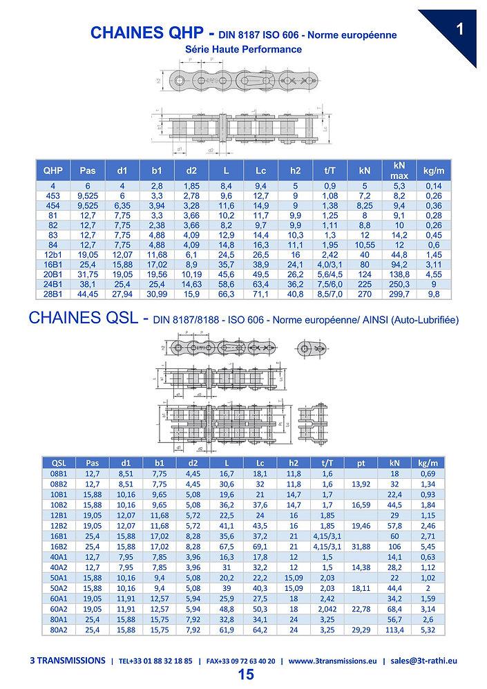 Chaines Transmission performances, chaines à rouleaux convoyeur | 3 Transmissions