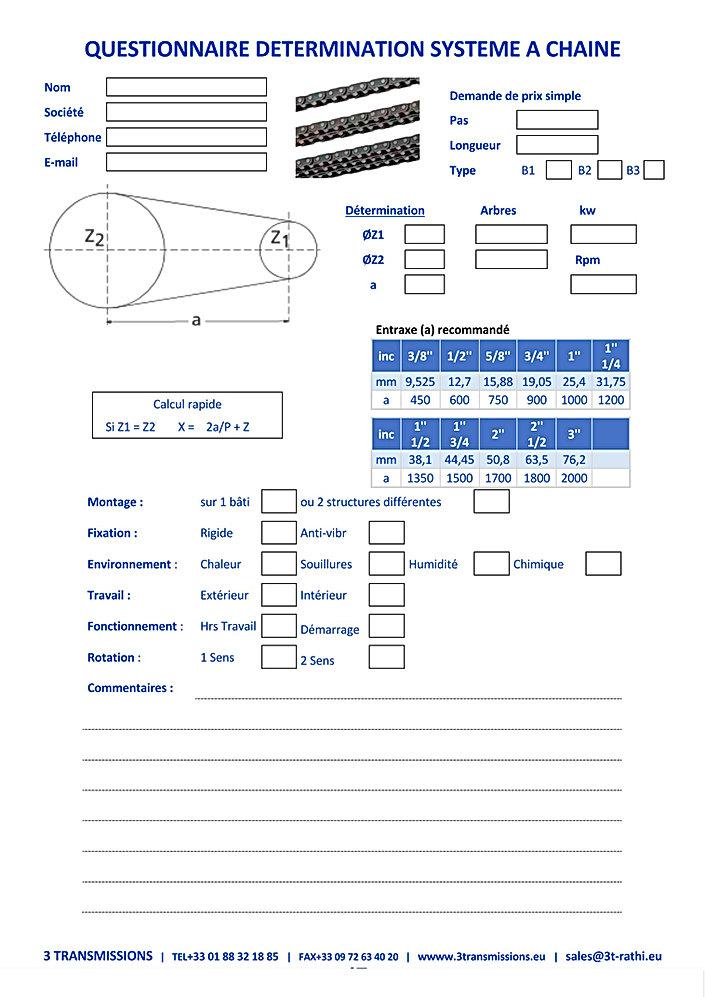 Questionnaire determination système transmission a chaine | 3 Transmissions