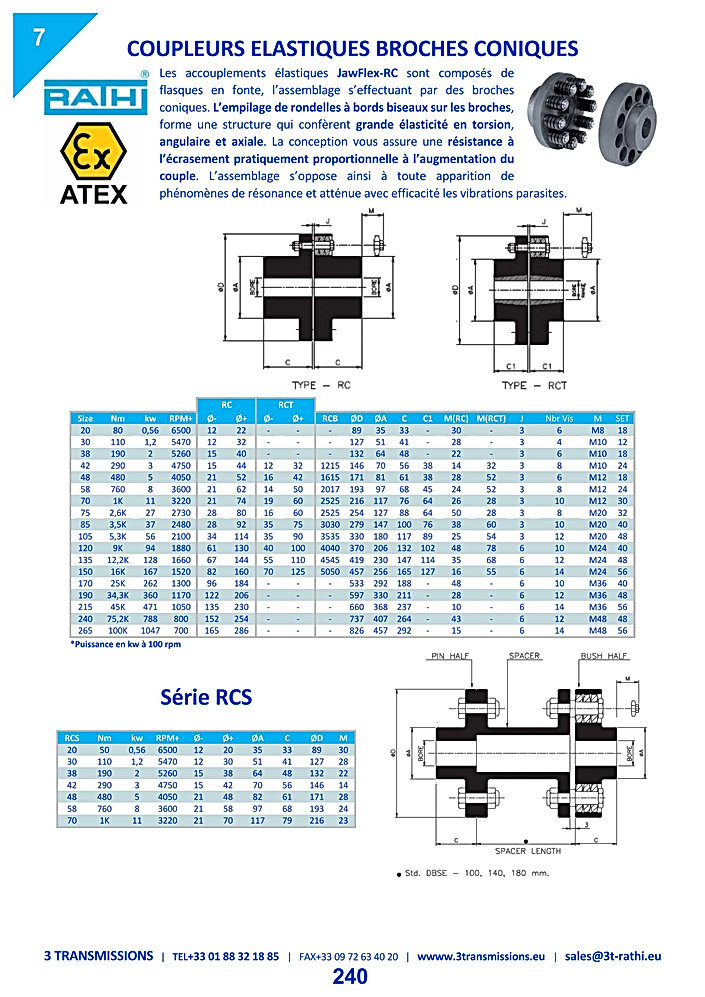 Accouplements flexibles à tampons coniques RCFlex | 3 Transmissions