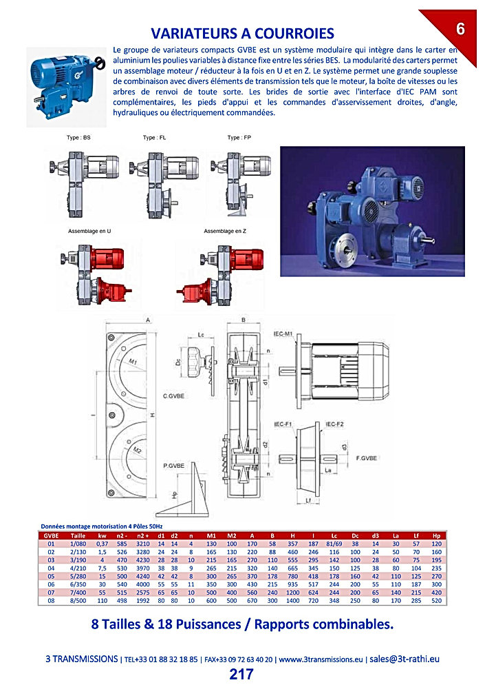 Variateur vitesse mécanique courroies | 3 Transmissions