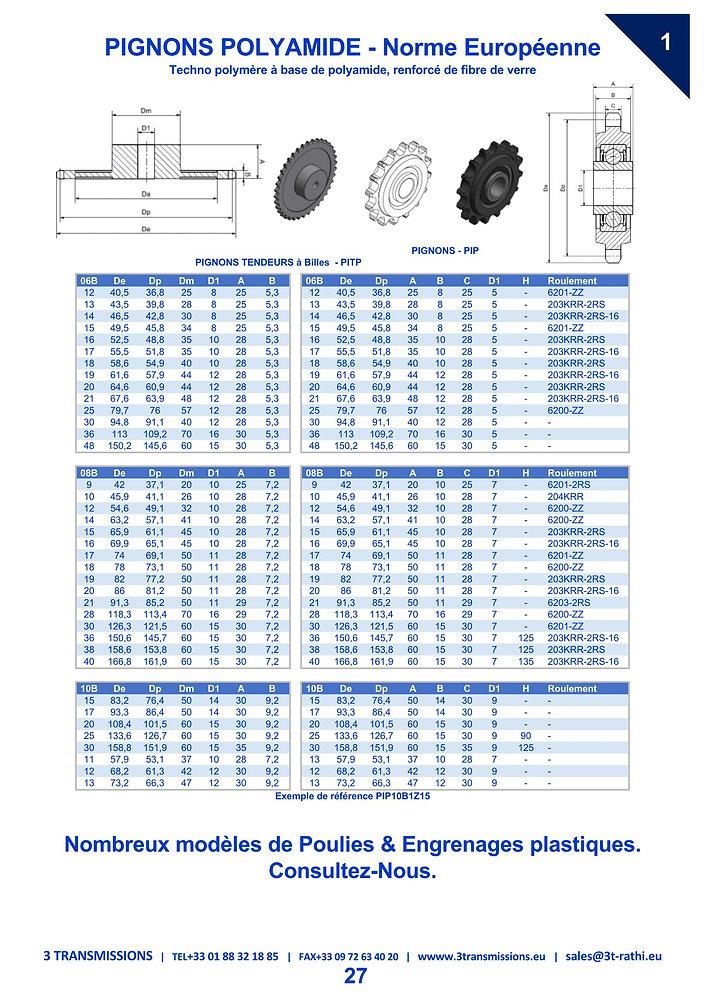Pignons Plastiques chaines Industrielles | 3 Transmissions