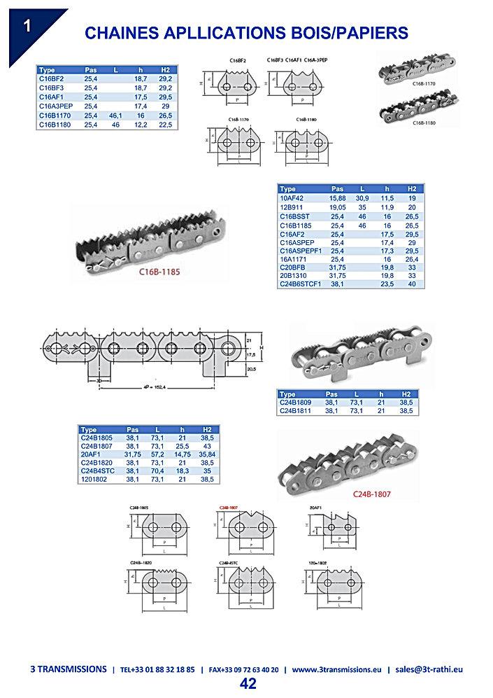 Chaines speciale bois, chaine à joues dentées convoyage bois | 3 Transmissions