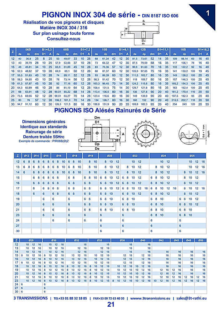Pignons Inox chaines de transmission   3 Transmissions