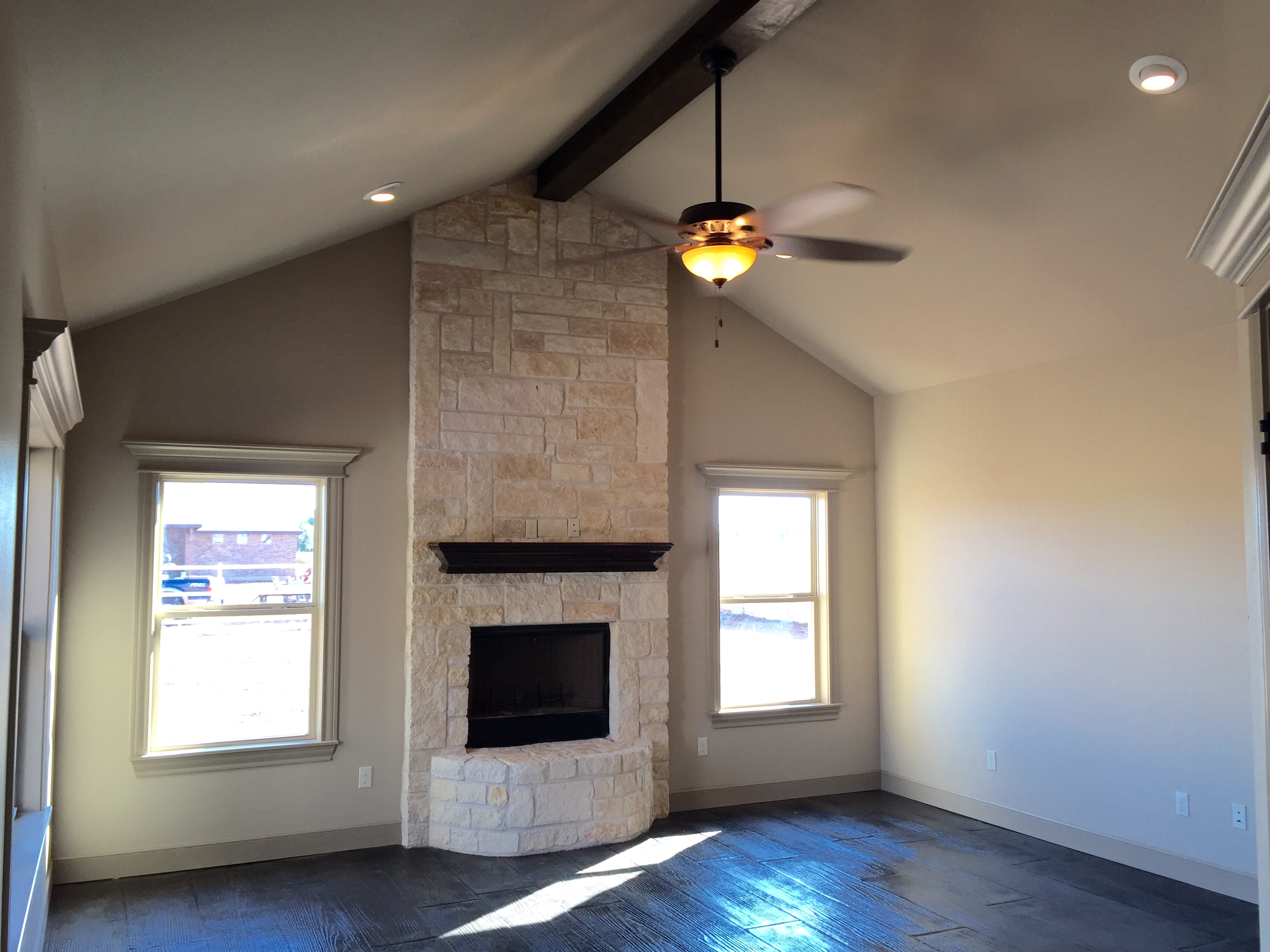 custom home | fireplace | rock