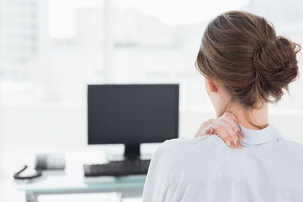 Computer user with neck pain
