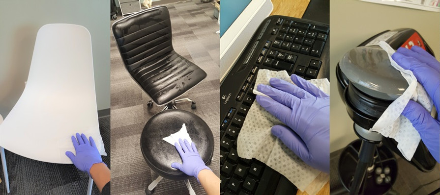 Wiping down and disinfecting office equi