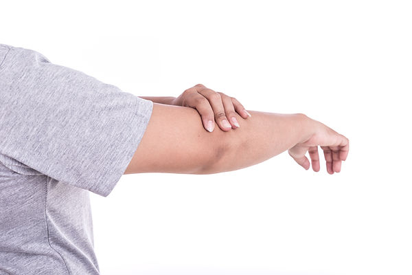 Person with elbow pain.