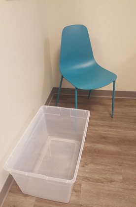 Plastic chair and tote for clothes and i