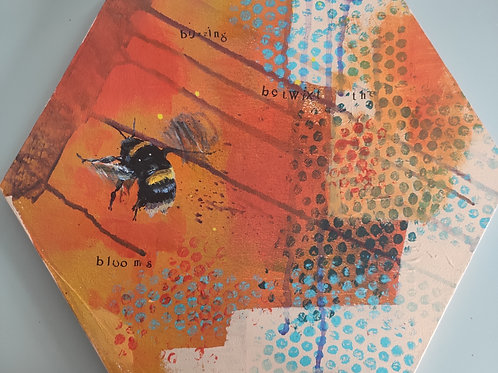 'Betwixt the Blooms' Hexagon Bee Painting