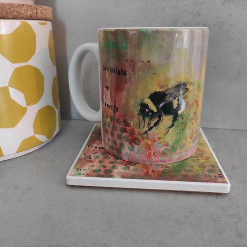 Orange Bumblebee Mug and Round Coaster