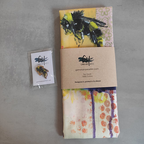 Letterbox Gift- Tea Towel and Wooden Pin