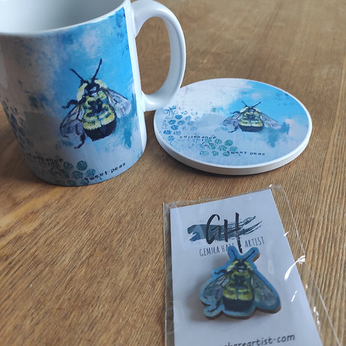 Mug, Coaster and Pin Set