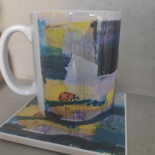 Ceramic mug and coaster