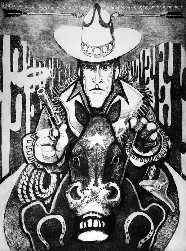 Cowboy print referral advertising