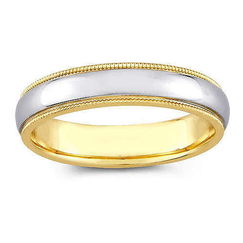 14k Two-tone Gold Ladies 4-mm Milligrain Comfort Fit Wedding Band