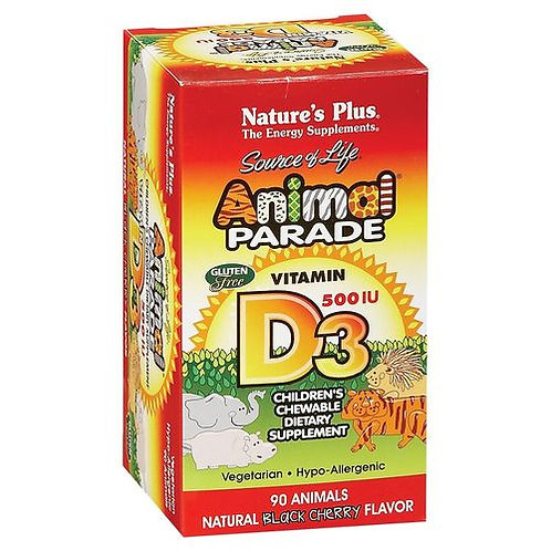 NaturesPlus Animal Parade Vitamin D3 500 IU Black Cherry  90 tabs