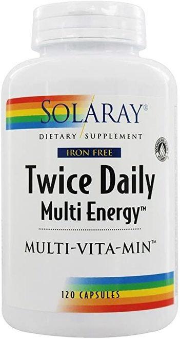 Solaray Twice Daily Multi Energy Iron Free  120 caps