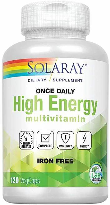 Solaray High Energy Multivitamin Iron Free Once Daily  120 caps