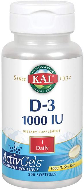 KAL D-3 1,000 IU 1 Daily  100 softgels