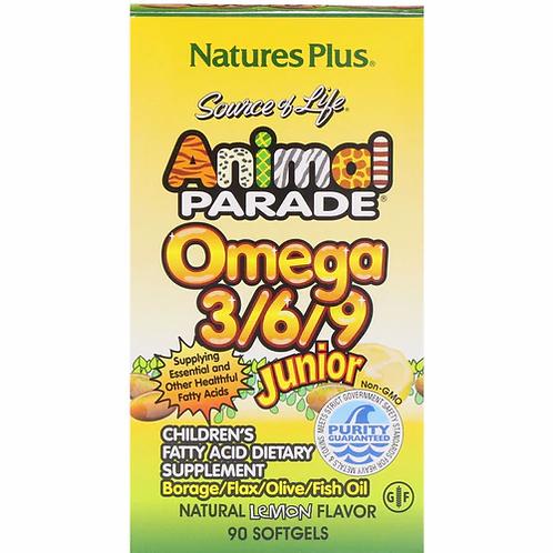 NaturesPlus Animal Parade Omega 3-6-9 Junior Lemon  90 softgels