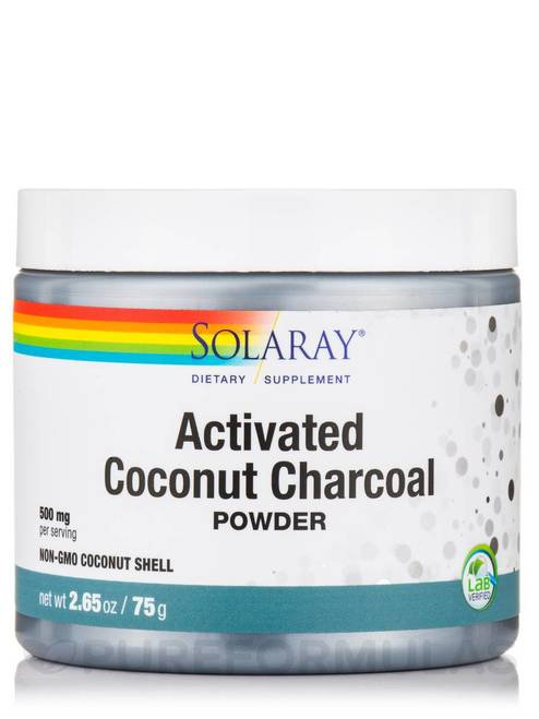 Solaray Activated Coconut Charcoal Powder 500 mg  75 g