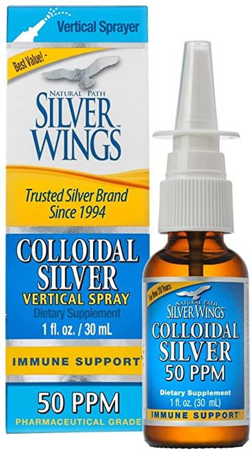 Natural Path Silver Wings Colloidal Silver Vertical Spray 50 PPM   30 ml