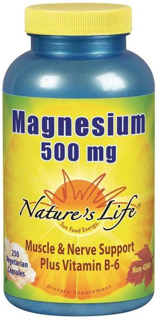 Nature's Life Magnesium 500 mg Plus B-6  250 caps