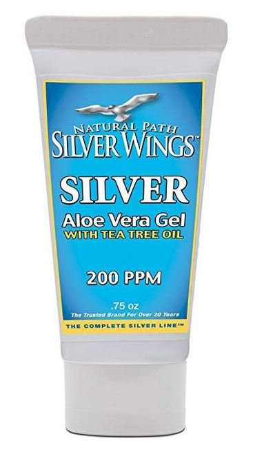 Natural Path Silver Wings Silver Aloe Vera Gel with Tea Tree Oil 200 PPM  .75 o