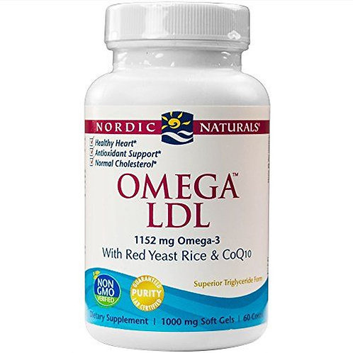 Nordic Naturals Omega LDL 1152 mg Omega-3 Red Yeast & Rice 60 ct