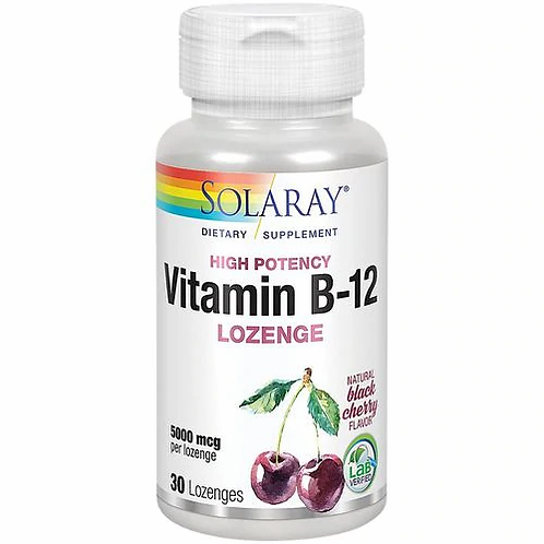 Solaray Vitamin B-12 Lozenge Black Cherry 5000 mcg 30 lozenges