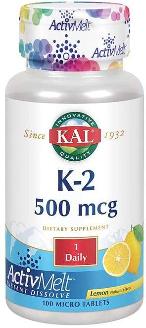 KAL K-2 500 mcg Lemon 1 Daily  100 micro tabs