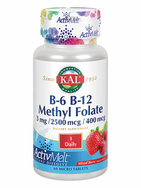 KAL B-6 B-12 Methyl Folate Mixed Berry 1 Daily  60 micro tabs