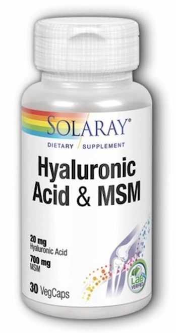 Solaray Hyaluronic Acid & MSM 20 & 700 mg  30 caps