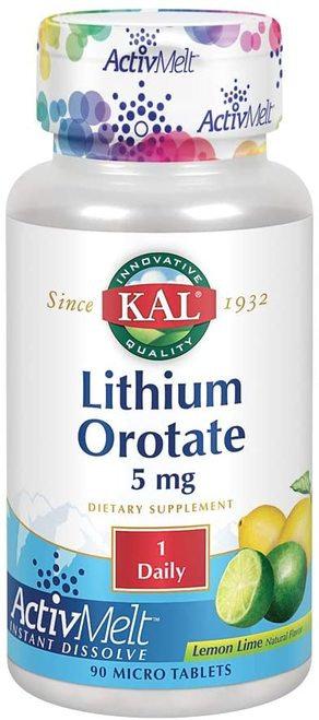 KAL Lithium Orotate 5 mg Lemon Lime 1 Daily  90 micro tabs