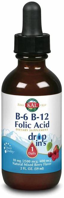KAL B-6 B-12 Folic Acid Drops Mixed Berry 1 Daily  59 ml